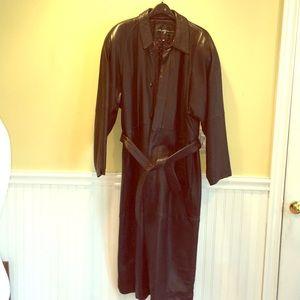 Vintage Men's Long Leather Coat
